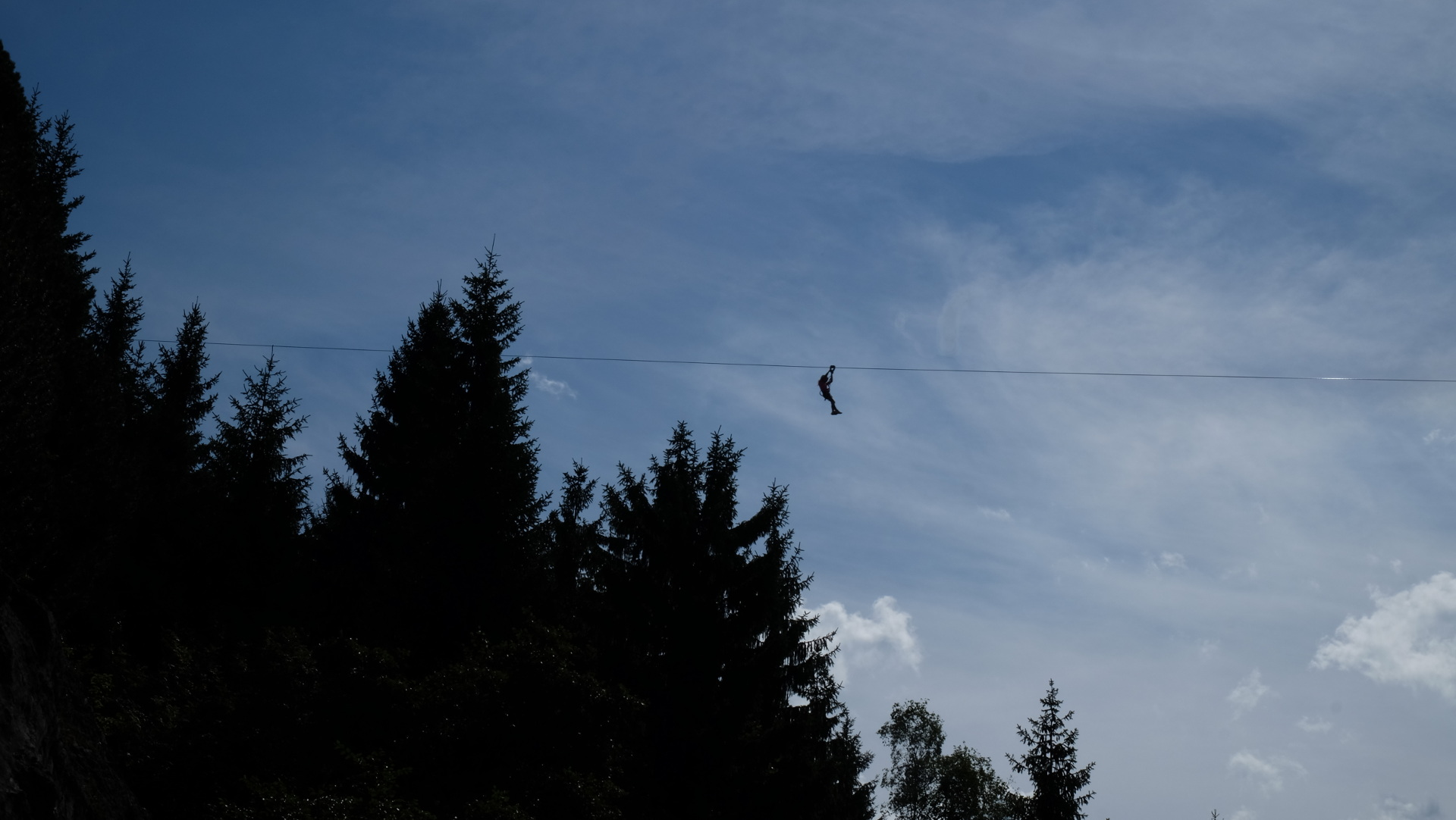 Der Flying-Fox hoch droben nach dem Start